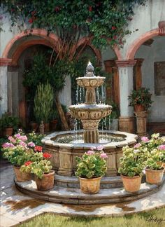Mediterranean Patio And Fountain ~ Lady-Gray-Dreams Water Fountain Design, Garden Water Fountains, Spanish Garden, Spanish Courtyard, Landscape Design, Garden Design, Tabletop Fountain, Hacienda Style, Water Features In The Garden