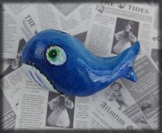 Blue Whale Brooch Air dry clay whale marine by Mythillogical, £7.50