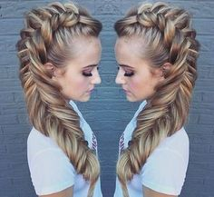 It's a great day to practice your Dutch fishtail braid! LINK IN BIO I teach unicorn hair (hair updo styles fishtail braids) Dance Hairstyles, Pretty Hairstyles, Braided Hairstyles, Fantasy Hairstyles, Updo Hairstyle, Braided Updo, Latest Hairstyles, Wedding Hairstyles, Dutch Fishtail Braid