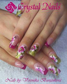 . Marble Nail Designs, Ombre Nail Designs, Nail Art Designs, Pretty Nail Art, Beautiful Nail Art, Hot Nails, Glitter Nail Art, Flower Nails, Creative Nails