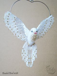 White Dove Ornament Beaded Dove Suncatcher Dove Necklace Bird Brooch Bird Lover Gift Bird Figurine Hanging Decor / Made to Order Beaded Christmas Ornaments, Bird Ornaments, Ornament Crafts, Sun Catchers, Art Perle, Jewelry Cleaning Cloth, Beaded Crafts, Diy Crafts, White Doves