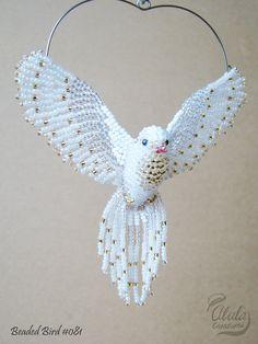 Judy Model / White Dove Suncatcher, Window Decor, Beaded Bird Ornament, Bird Necklace, Bird Lover Gift, Bird Figure, 3D Beaded Bird / BB081