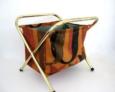 Vintage Knitting Tote Bag Basket Folding by BrooklynStVintage