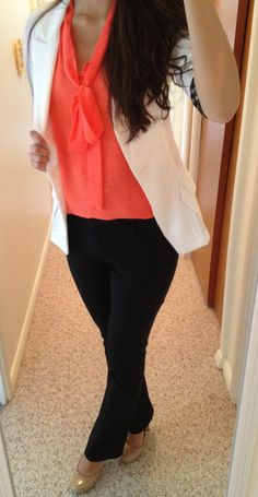 Do not like the colors on the tops - too orange and do not like white blazers, but this is typical of office wear for me. The neck bow is not my style either, but a cute statement necklace or scarf works great.