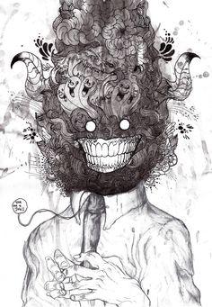 'give me a job' 2009 done by Iain macarthur Dark Drawings, Cool Drawings, Arte Horror, Horror Art, Art Sinistre, Art Du Croquis, Arte Obscura, Art Anime, Art Et Illustration