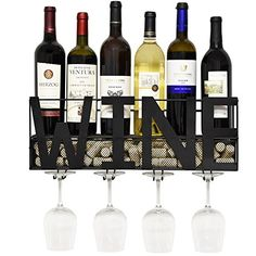 Best Wine Rack | Metal Wall Mounted Wine Rack and Glass Holder with Cork Storage Decorative Kitchen Hanging Bottle Glasses Shelf Stemware for Living Room Decor * Learn more by visiting the image link. Note:It is Affiliate Link to Amazon.