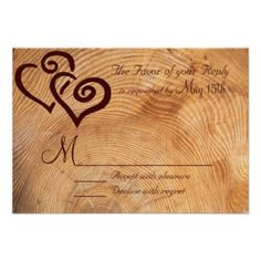 Shop Rustic Country Wood Double Hearts Wedding RSVP Card created by CustomWeddingSets. Discount Wedding Invitations, Wedding Invitation Design, Wedding Rsvp, Wedding Cards, Wedding Stuff, Wedding Ideas, Country Wedding Cakes, Rustic Wedding, Invitation Paper