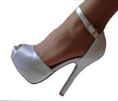 White Satin Platform Ankle Strap High Heels