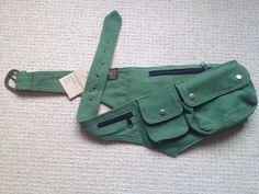 Green CANVAS pocket utility belt psytrance FANNY by GekkoBoHotique