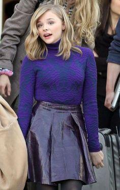chloe moretz in another gorgeous vinyl look skirt