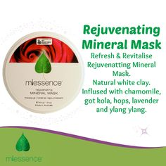 #Miessence Certified #Organic Rejuvenating Mineral #Mask with natural white clay, horsetail & nettle for a smooth complexion.