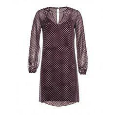 Vestito, in chiffon interamente stampato, con sottoveste e chiusura a bottone sul retro.