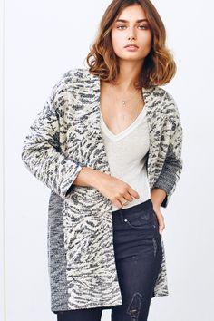 a5ed4e7c474 Black   white jacquard-weave cardigan with glittery threads