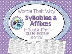 Word Study Words Their Way Syllables and Affixes in Bubble font for students to color for visual discrimination of sorts. $