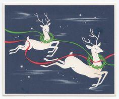 Vintage Greeting Card Christmas Deer Flying Reindeer Mid-Century Illustration