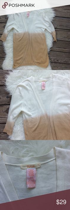 "Tulle Angora Ombré Cardigan Excellent condition Tulle ombré cardigan from Anthropologie. Size Small. Cotton blend with angora. Above the elbow sleeves. Long. Open front, no buttons. Shoulder seam to shoulder seam across the back 15.5"", bust 36"", length 29"". No trades, offers welcome. Anthropologie Sweaters Cardigans"