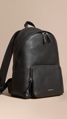 Black Grainy Leather Backpack 1