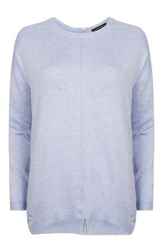 Blue Zip Back Sweater