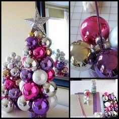 Dollar Store Crafter: Tabletop Knitting Needle Ornament Tree