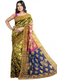 #multicolor #woven #bridal #kanjivaram #silk #saree #blouse #attractive #design #sareelove #new #arrivals #beautiful #indianwear #ootd #traditional #womenswear #online #shopping