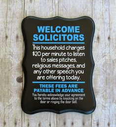 Welcome Solicitors  No soliciting sign  No by TalkingTreasures