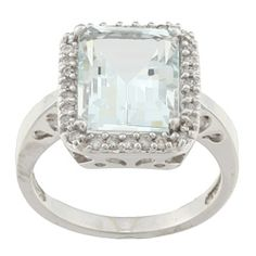 @Overstock - Aquamarine and diamond ring10-karat white gold jewelry click here for ring sizing guidehttp://www.overstock.com/Jewelry-Watches/10k-White-Gold-Aquamarine-and-1-5ct-TDW-Diamond-Ring-J-K-I1-I2/5880377/product.html?CID=214117 $579.99