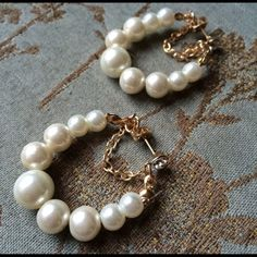 Gold plated white faux pearls hoop earrings New. Gorgeous gold plated white pearls earrings. Thank you for visiting my closet, please let me know if you have any questions, I offer great discounts on bundles :) Boutique Jewelry Earrings