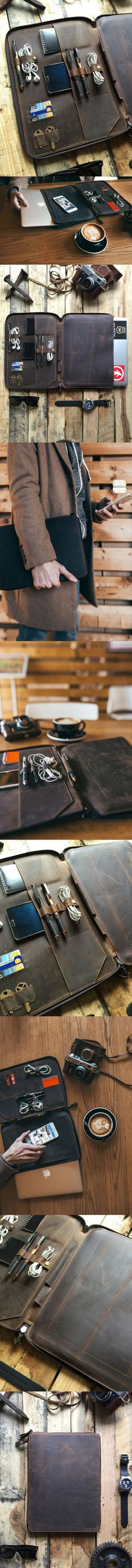 This full grain leather portfolio, leather organizer, leather folder was carefully designed to protect your Laptop, tablet, and all of your daily essentials. The beautiful distressed leather gives a u (Diy Clothes Organizer) Leather Folder, Mode Man, Leather Portfolio, Things To Buy, Stuff To Buy, Mode Masculine, Leather Projects, Leather Men, Distressed Leather