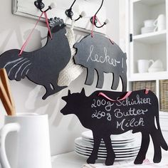Kitchen chalkboards of chicken, cow and pig. Cow Kitchen, Country Kitchen, Kitchen Chalkboard, Cow Decor, Chalkboards, Cows, Kitchen Remodel, Beach House, Diy Home Decor
