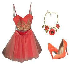 """""""coral for hoco"""" by dannaalexiamend on Polyvore featuring Masquerade, G by Guess and Oscar de la Renta"""