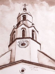 church Mörbisch Watercolor on paper San Francisco Ferry, Watercolor, Paper, Watercolor Painting, Watercolors, Watercolour