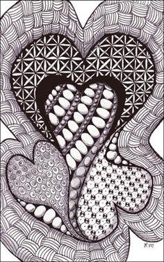 zentangle hearts | Via Lesley Freedom