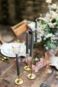 Romantic Wedding Tablescape | Whimsical Bride Aesthetic | Gold and Blush Color Palette | Sekrit Theatre | Feather & Twine Photography | via Birch & Brass Vintage Rentals for Weddings and Special Events in Austin, TX