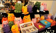 Some of the beatiful Dicke Katze, Fat Cats, plush, books and buttons.