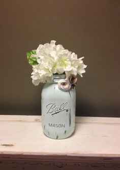 Pale Blue Shabby Chic Distressed Mason Jar For by aRestfulHome, $9.00