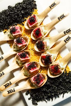 Alligator Pear passed hors d'oeuvres on spoons marked with the network's logo. Photo: Sean Twomey/2me Studios