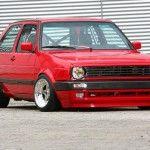 Red VW Golf Mk2 on extreme chrome wheels