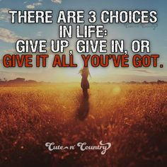 There are 3 choices in life....