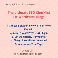 The Ultimate SEO checklit for WordPress Blogs. Online Marketing Companies, Social Media Marketing, Digital Marketing, Wordpress Blogs, Best Seo Services, Got Quotes, Data Analytics