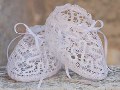 Bobbin Lace | Beautiful booties made with bobbin lace--