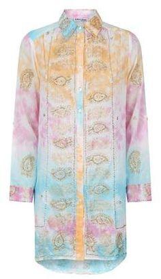 685e99685123a5 Juliet Dunn Button-Down Sequined Tie Dye Dress - ShopStyle