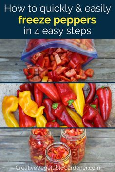 Freeze peppers from your garden or the farmers market and you'll save yourself lots of money this winter. There are only four steps to the process! Freezing Vegetables, Freezing Fruit, Organic Vegetables, Fruits And Veggies, Freeze Peppers, Canning Recipes, Oven Canning, Food Hacks, Food Tips