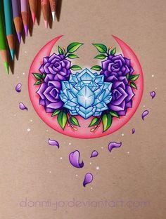 Pink Moon & Purple Roses (Commission) by dannii-jo on DeviantArt