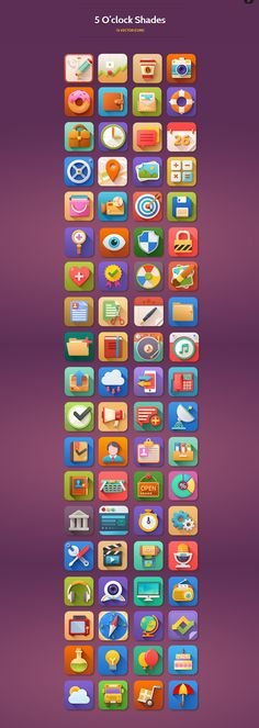 5 O'clock Shades Icon Set by WordPress Design Awards , via Behance