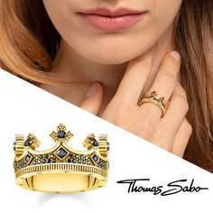Thomas Sabo Sterling Silver Rebel at Heart Ring Krone Gold Thomas Sabo, Class Ring, Heart Ring, Unisex, Sterling Silver, Inspiration, Jewelry, Inner Strength, Schmuck