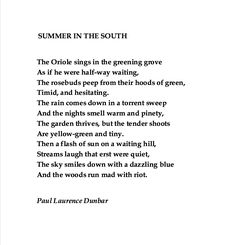 Paul Lawrence Dunbar, Summer in the South