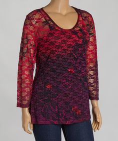 Look at this #zulilyfind! Pink & Purple Lace Scoop Neck Top - Plus by Citi Life #zulilyfinds