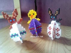 Déco oeuf 3D   pour le lapin: 278 perles  pour le poussin: 274 perles   prix de vente terminé: 2.20€ l'unité