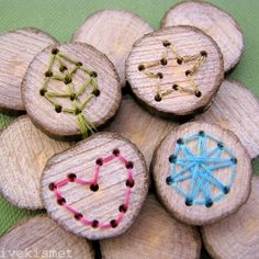 Woodworking For Kids embroidered wood slices - Patchwork Floor Pillow Tutorial from Twinkle and Twine via Craftgawker Embroidered Wood Bits by Creative Kismet via Craftgawker DIY Beaded Bracelet from Honestly WTF