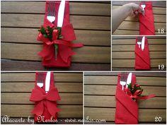 CEPLİ PEÇETE KATLAMA – ALACARTE Napkin Folding, 4th Of July Wreath, Napkins, Table Settings, Gift Wrapping, Wreaths, Candles, Christmas, Kitchen Gadgets